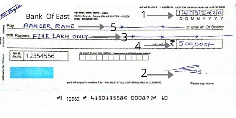 how to fill a cheque