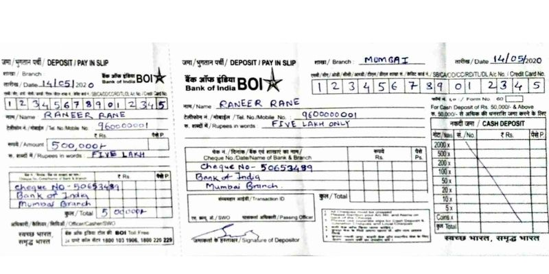 how to fill a cheque deposit slip